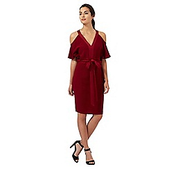 Star by Julien Macdonald - Dark red cold shoulder kimono dress
