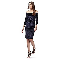Star by Julien Macdonald - Navy velvet off the shoulder dress