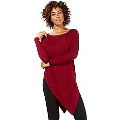 Star by Julien Macdonald - Dark red asymmetric hem jumper