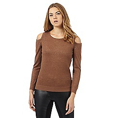Star by Julien Macdonald - Brown studded cold shoulder jumper