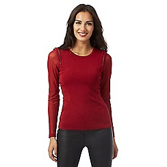 Star by Julien Macdonald - Red chain shoulder detail mesh sleeved jumper