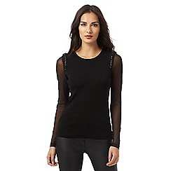 Star by Julien Macdonald - Black chain shoulder detail mesh sleeved jumper