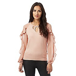 Star by Julien Macdonald - Pale pink cut-out ruffle sleeve jumper