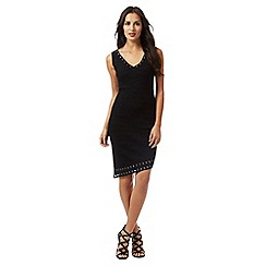 Star by Julien Macdonald - Black ribbed eyelet trim dress