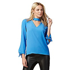 Star by Julien Macdonald - Blue choker neck bow detail cuff blouse