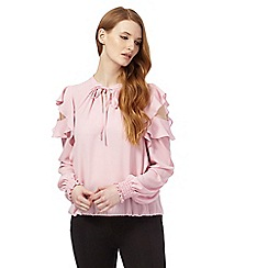 Star by Julien Macdonald - Light pink self-tie neck ruffled top
