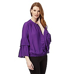 Star by Julien Macdonald - Purple pleated sleeve blouse