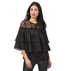 Star by Julien Macdonald - Black layered ruffle lace yoke top