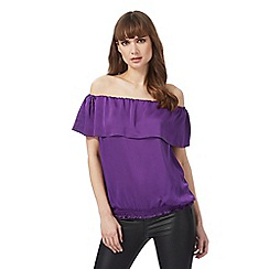 Star by Julien Macdonald - Purple Bardot frilled top