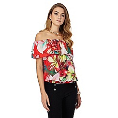 Star by Julien Macdonald - Red tropical print Bardot top