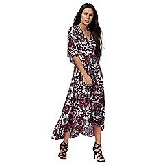Star by Julien Macdonald - Multi-colour floral print wrap midi dress