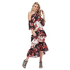 Star by Julien Macdonald - Black floral print halterneck cold shoulder midi tea dress
