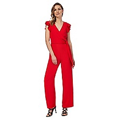 Star by Julien Macdonald - Red wrap front ruffle jumpsuit