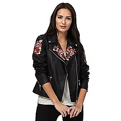 Star by Julien Macdonald - Black rose embroidered biker jacket