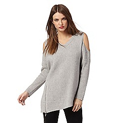 Star by Julien Macdonald - Grey cold shoulder jumper
