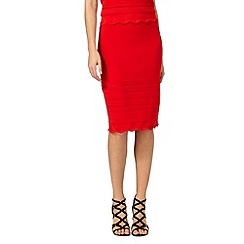 Star by Julien Macdonald - Red scallop stretch skirt