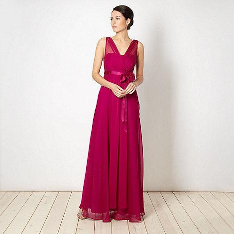 Debut - Dark pink sheer corsage maxi dress