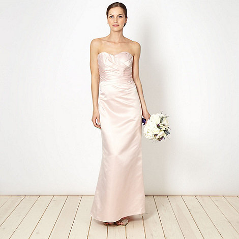Debut - Online exclusive pink pleated satin maxi dress