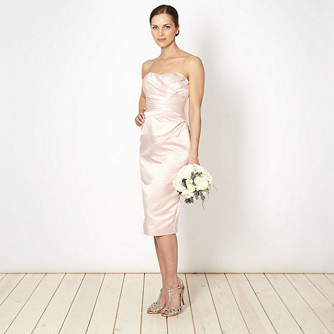 Debut - Online exclusive pink pleated satin bandeau dress