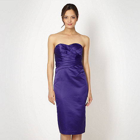 Debut - Purple structured satin midi dress