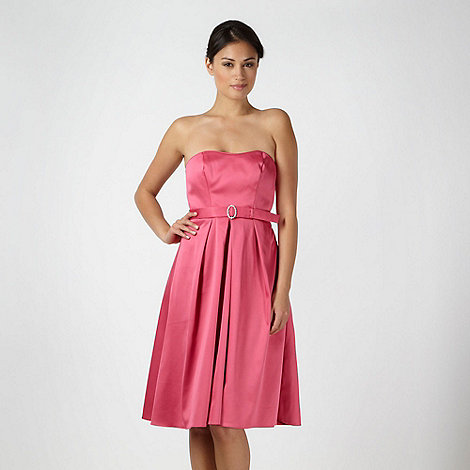 Debut - Bright pink satin belted prom dress