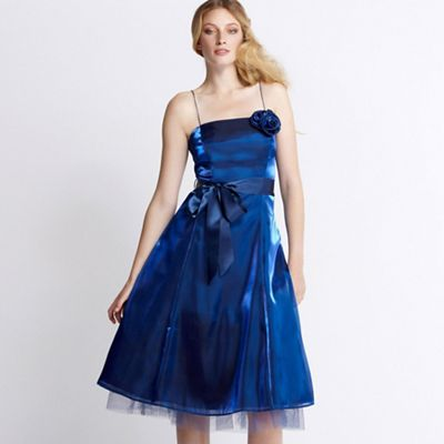 Midnight blue rose organza prom dress