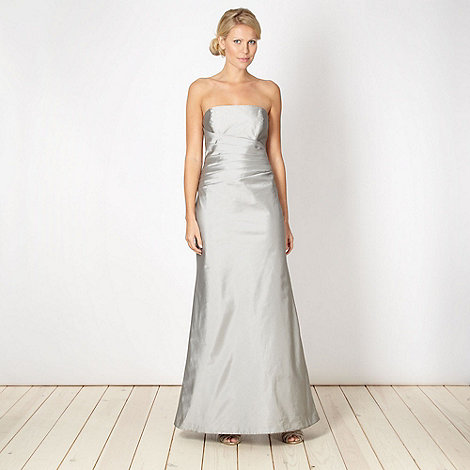 Debut - Online exclusive silver structured satin maxi dress