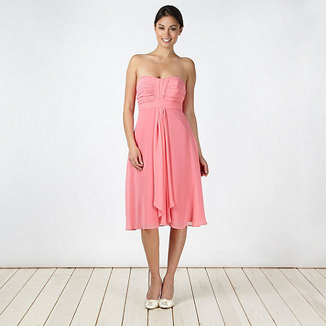 Debut - Mid rose ruched bust midi dress