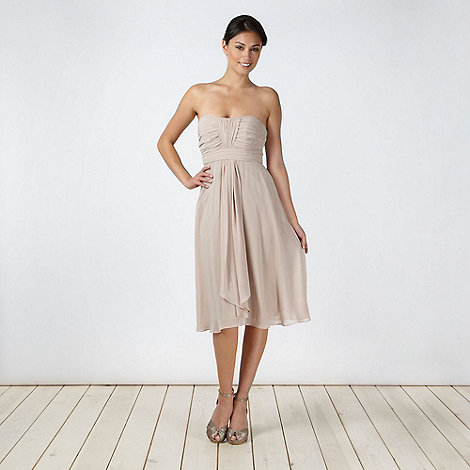 Debut - Light brown ruched bust midi dress