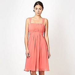 Debut - Dark peach twist front bandeau prom dress