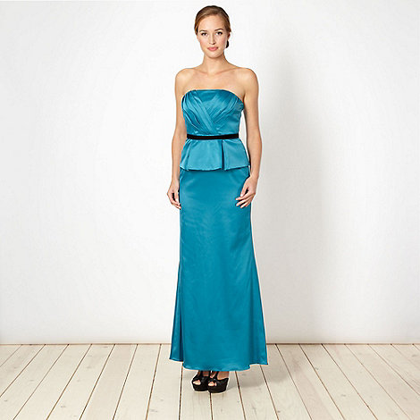 Debut - Turquoise satin peplum occasion dress