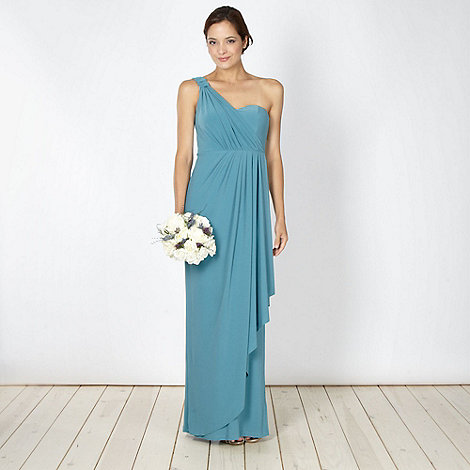 Debut - Turquoise asymmetric draped one shoulder maxi dress