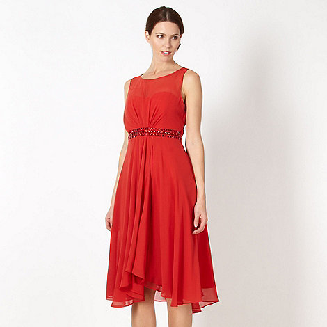 Debut - Red embellished waist sheer dress