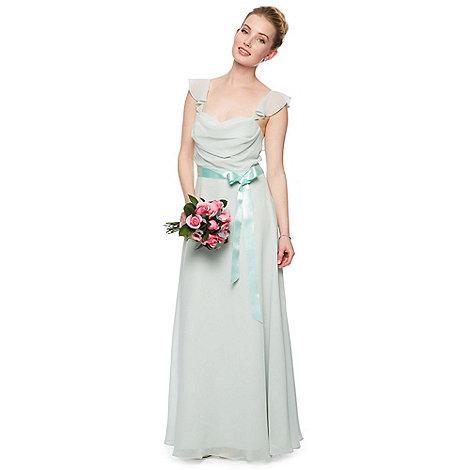 Debut - Helena Chiffon Frill Shoulder Maxi Dress with Ribbon