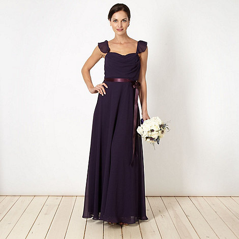 Debut - Purple chiffon frill shoulder maxi dress