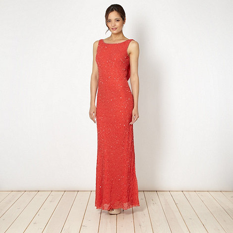Debut - Online exclusive red beaded cowl back maxi dress
