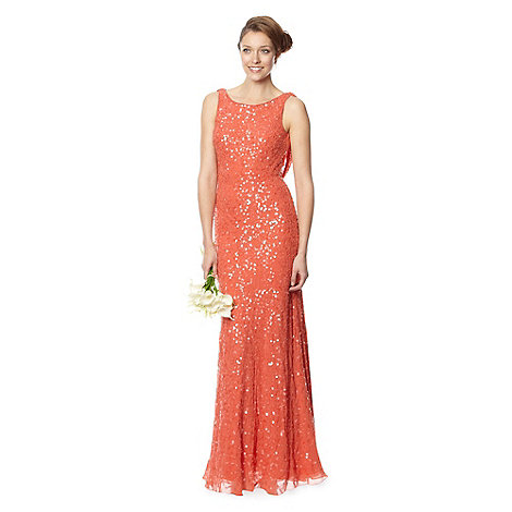 Debut - Orange beaded cowl back maxi dress