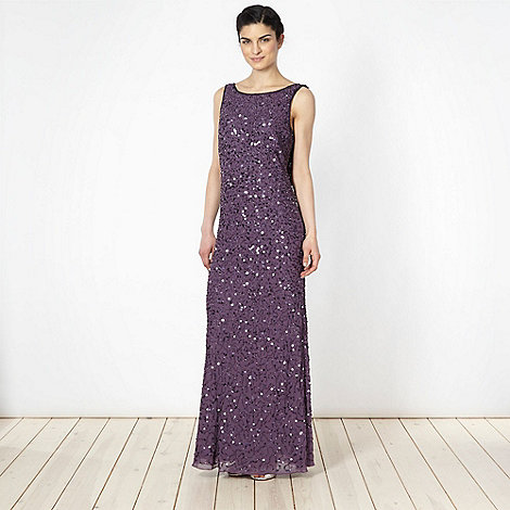 Debut - Dark mauve beaded cowl back maxi dress
