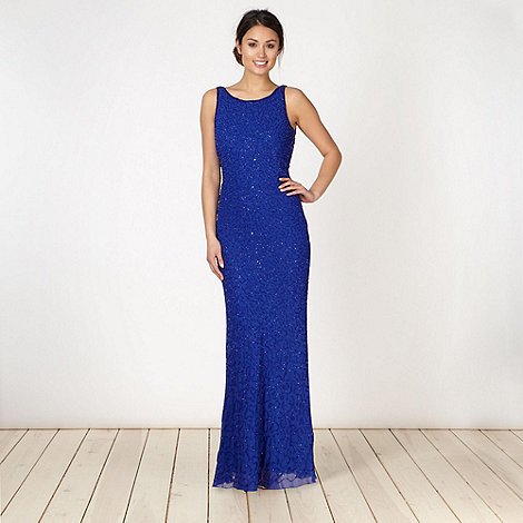 Debut - Bright blue beaded cowl back maxi dress