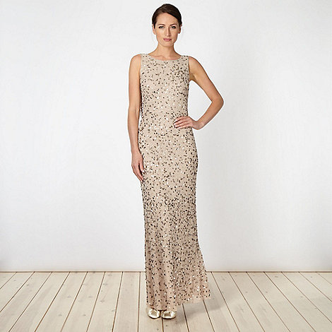 Debut - Natural embellished chiffon maxi dress