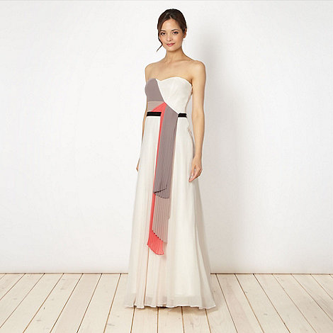 Debut - Off white asymmetric pleated maxi dress