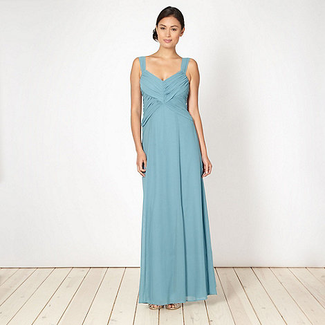 Debut - Turquoise diagonal draped chiffon maxi dress