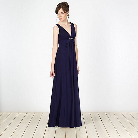 Debut - Dark blue jersey maxi dress