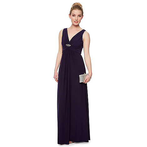 Debut - Purple brooch jersey maxi dress