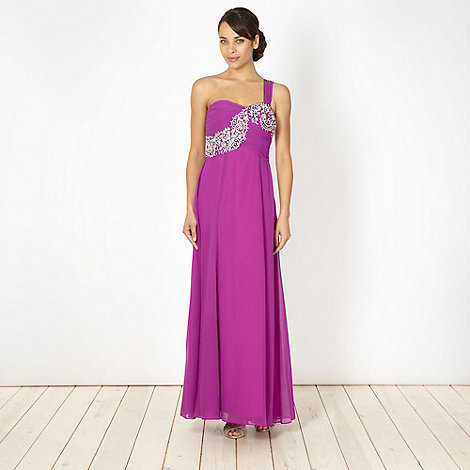 Debut - Purple diamante one shoulder maxi dress