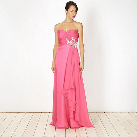 Debut - Pink diamante bodice maxi dress