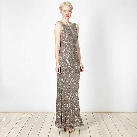Debut - Taupe beaded chevron cowl back maxi dress
