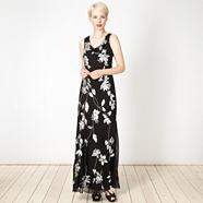 Black sequin floral cowl maxi dress