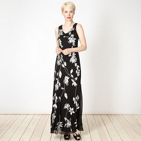 Debut - Black sequin floral cowl maxi dress