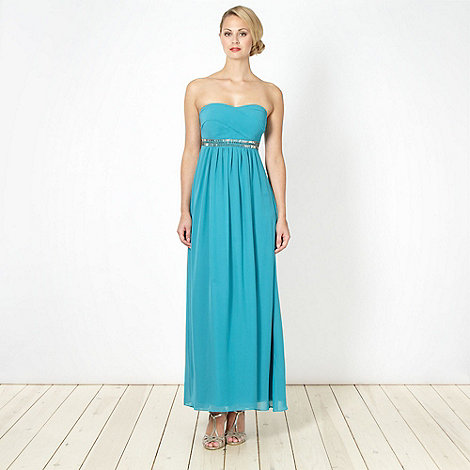 Debut - Turquoise embellished chiffon maxi dress